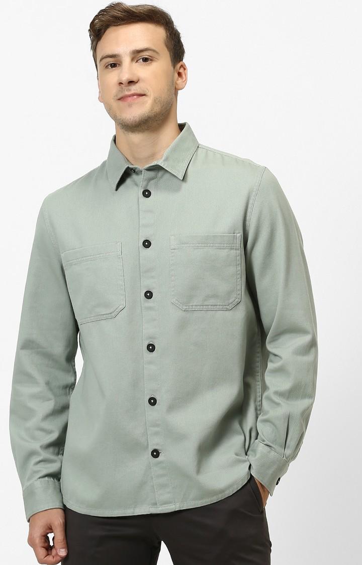 celio | Light Green Solid Regular Fit Casual Shirt
