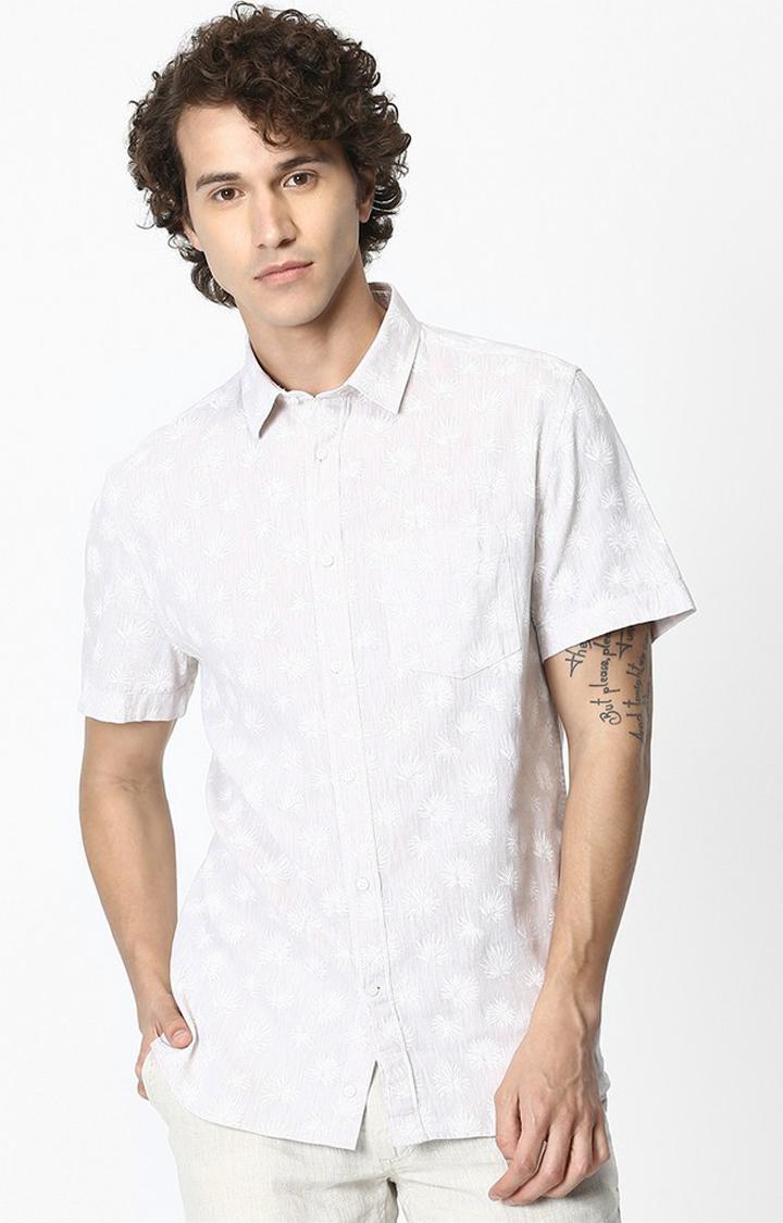 celio | White Floral Linen Regular Fit Casual Shirt