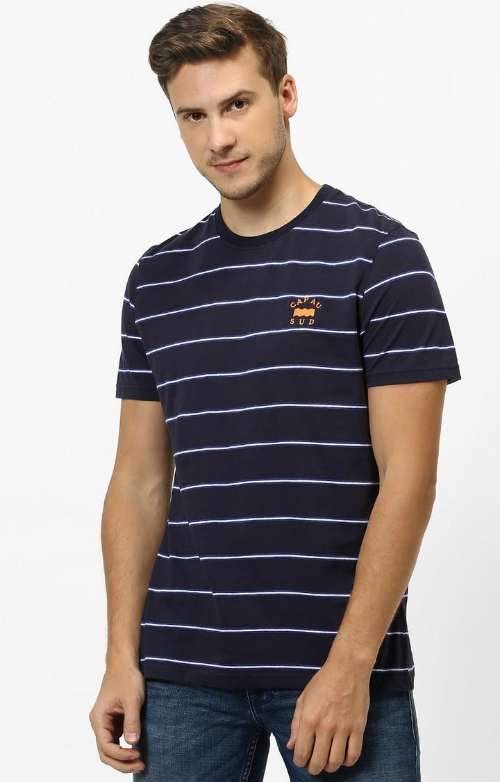 celio   Blue Striped Regular Fit T-Shirt