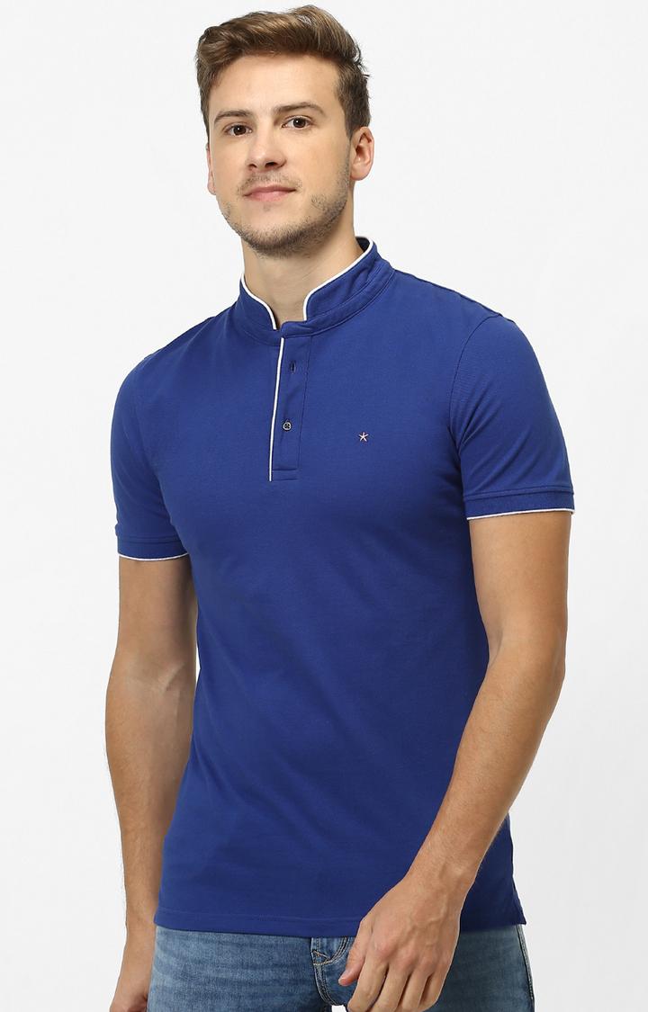 celio   Blue Solid T-Shirt