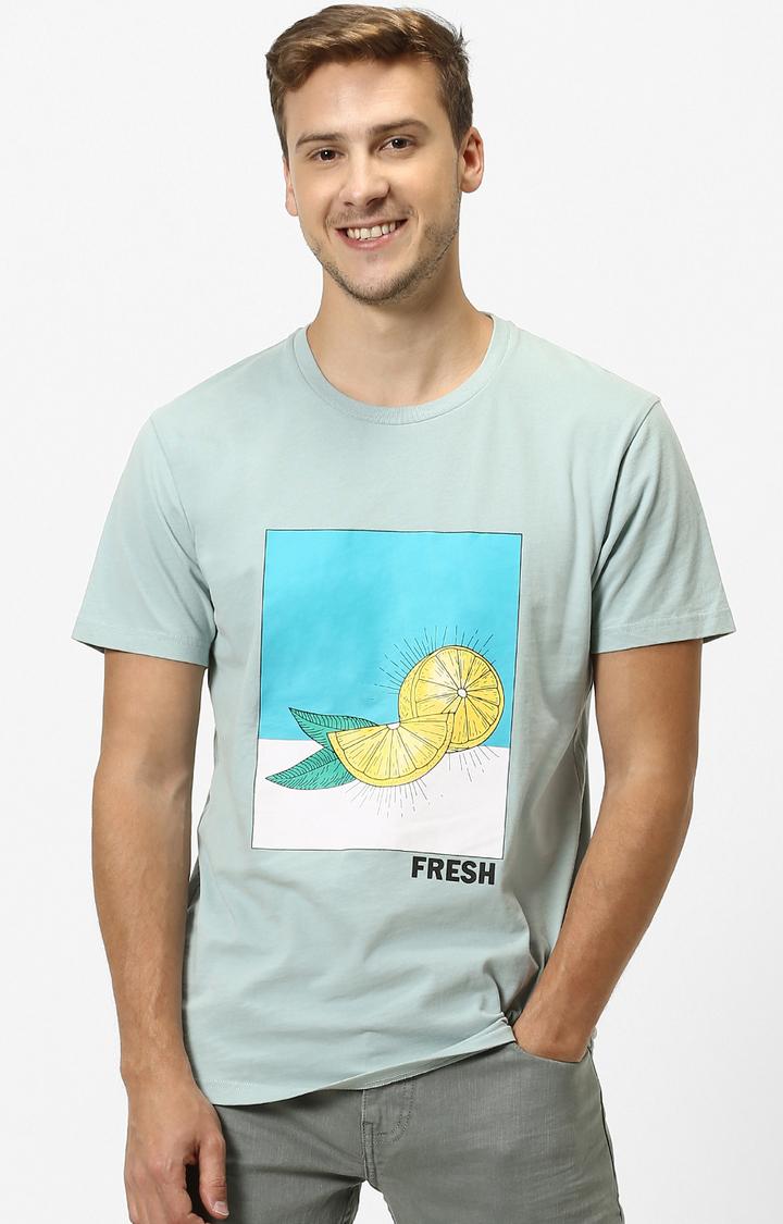 celio   Blue Printed T-Shirt