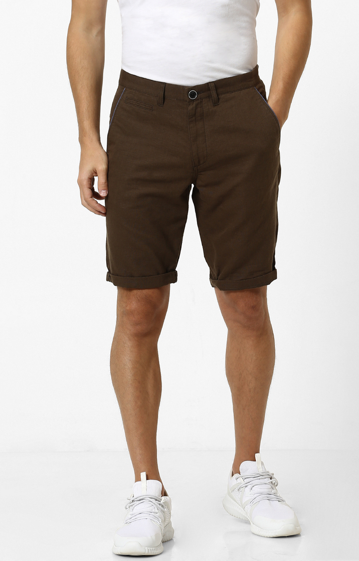 celio   Brown Solid Shorts