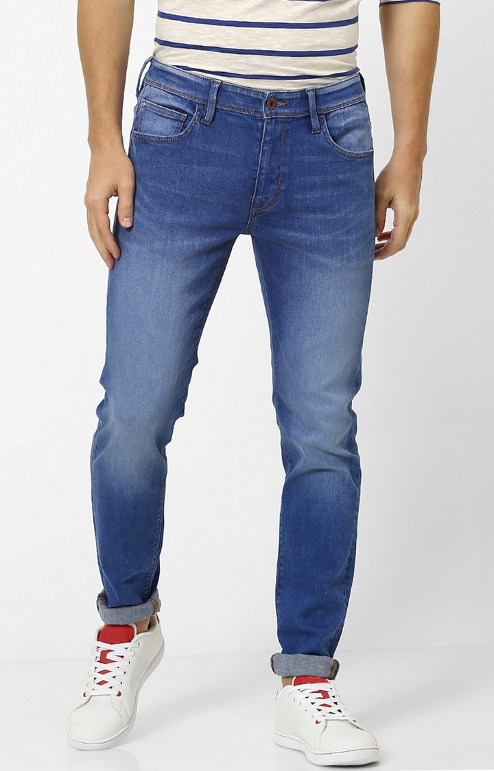 celio   Blue Solid Skinny Fit Tapered Jeans