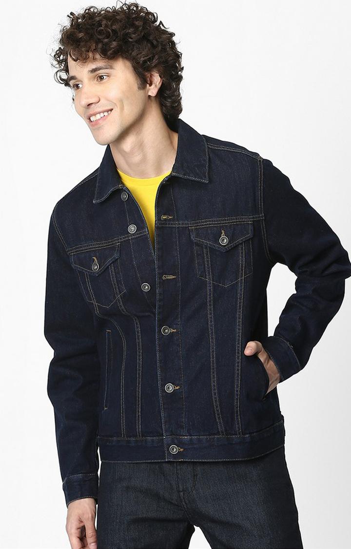 celio | Blue Solid Regular Fit Denim Jacket