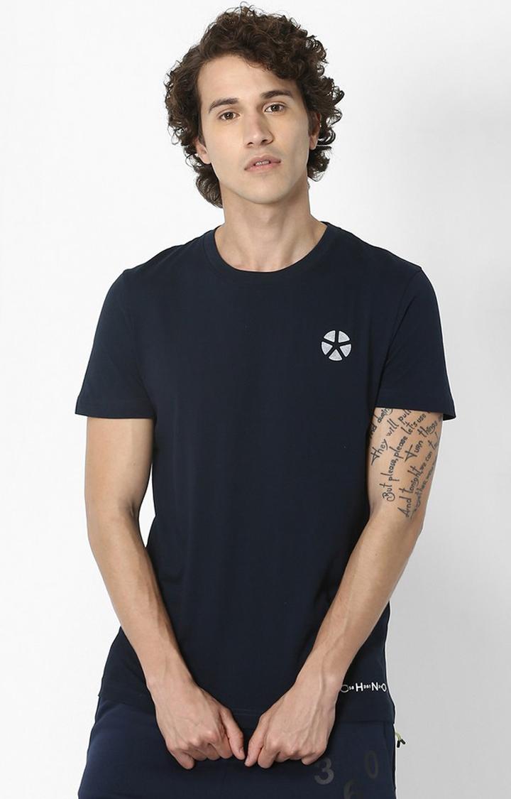 celio   Navy Printed Regular Fit Athleisure T-Shirt