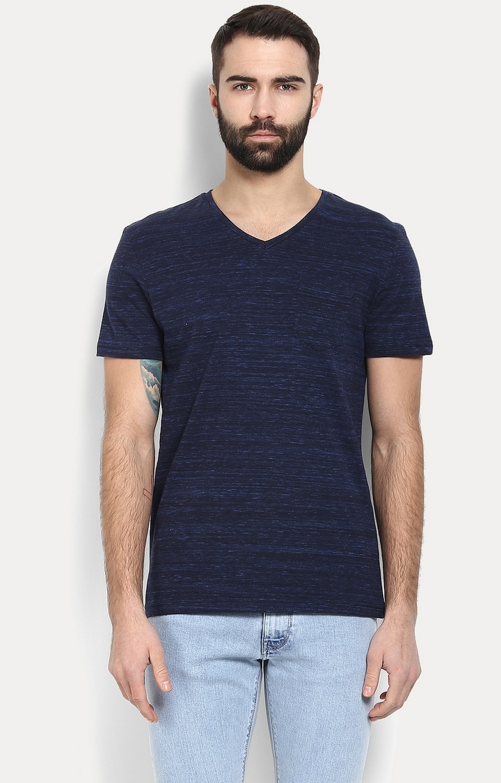 celio   Dark Blue Melange T-Shirt