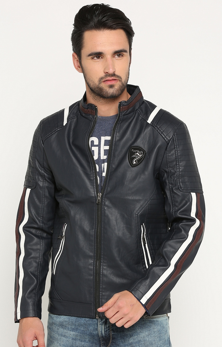 Showoff   Navy Solid Leather Jacket