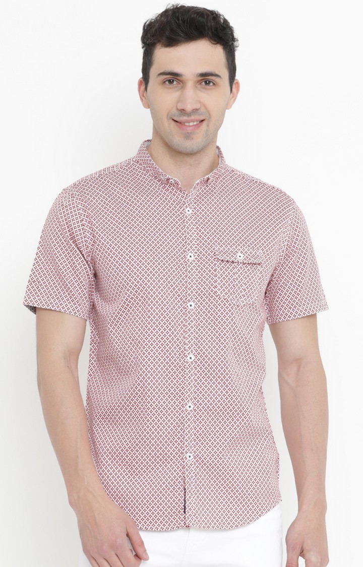Showoff | White and Red Printed Casual Shirt