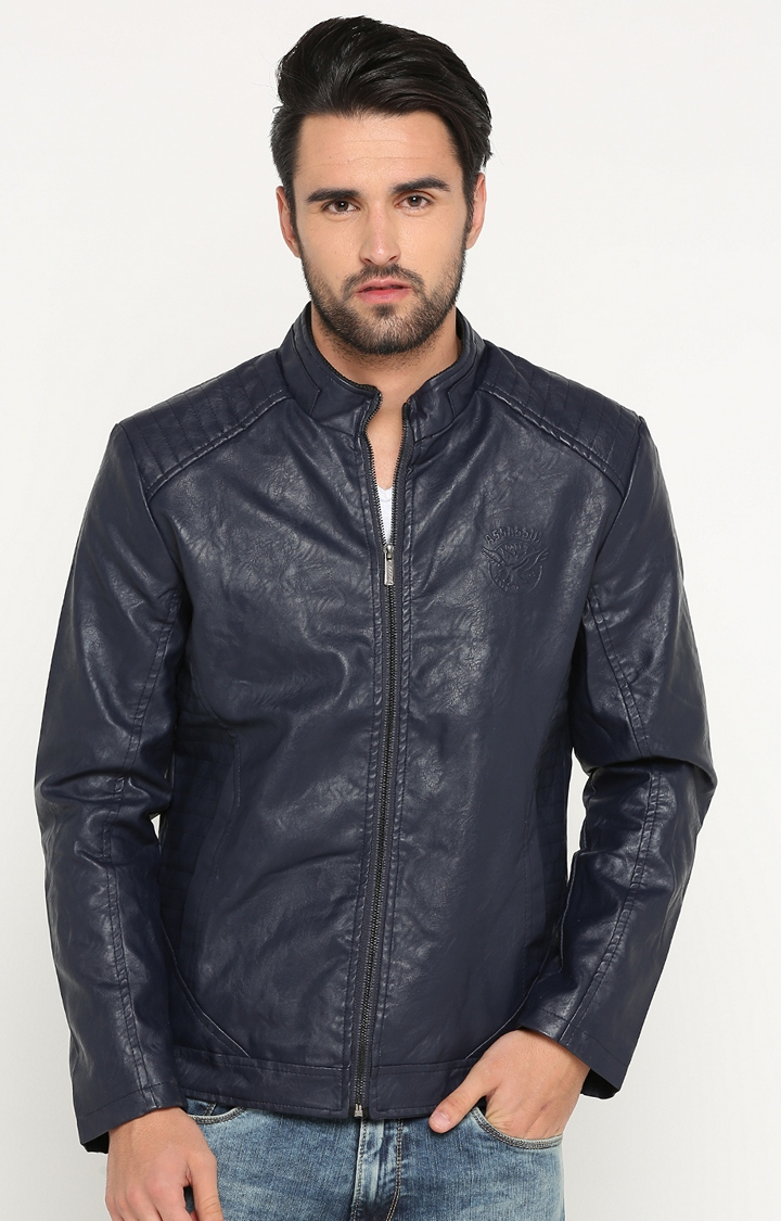 Showoff | Navy Solid Leather Jacket