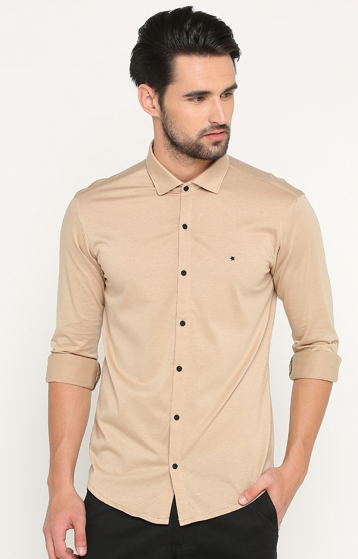 Showoff | Beige Solid Casual Shirt