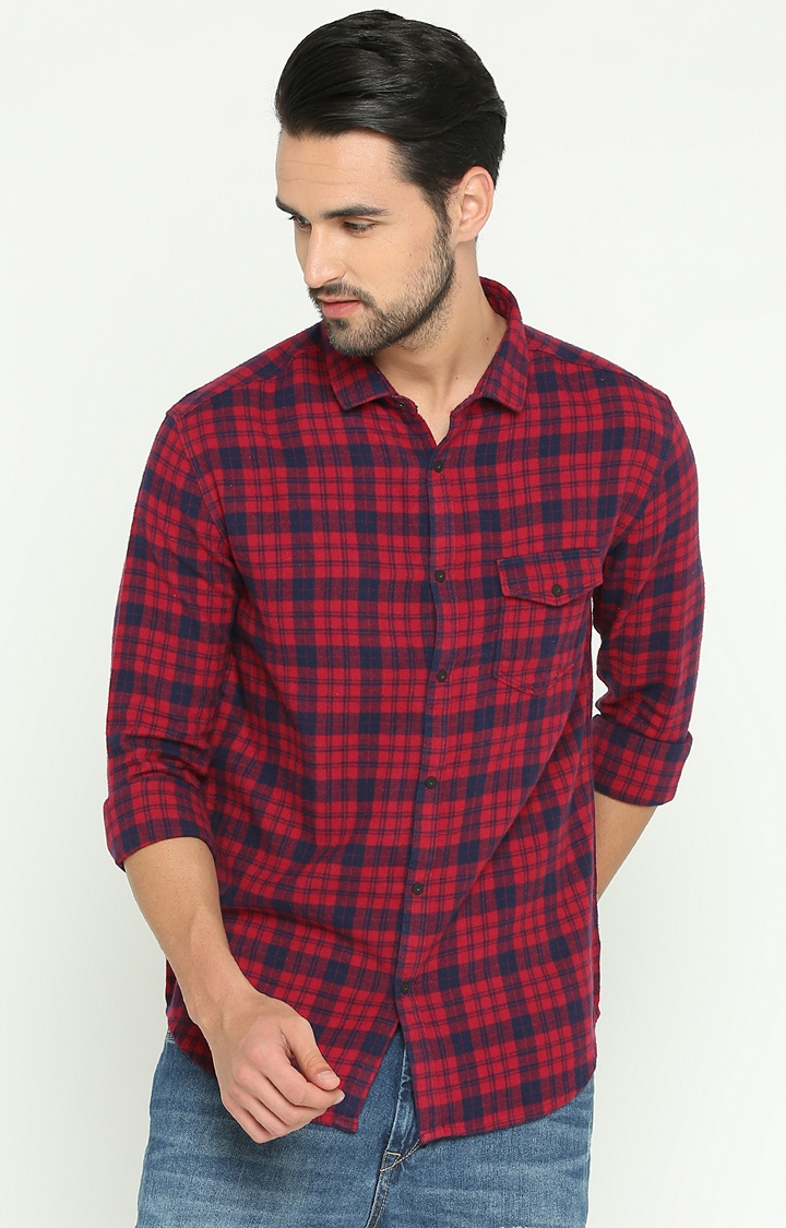 Showoff | Red Checked Casual Shirt