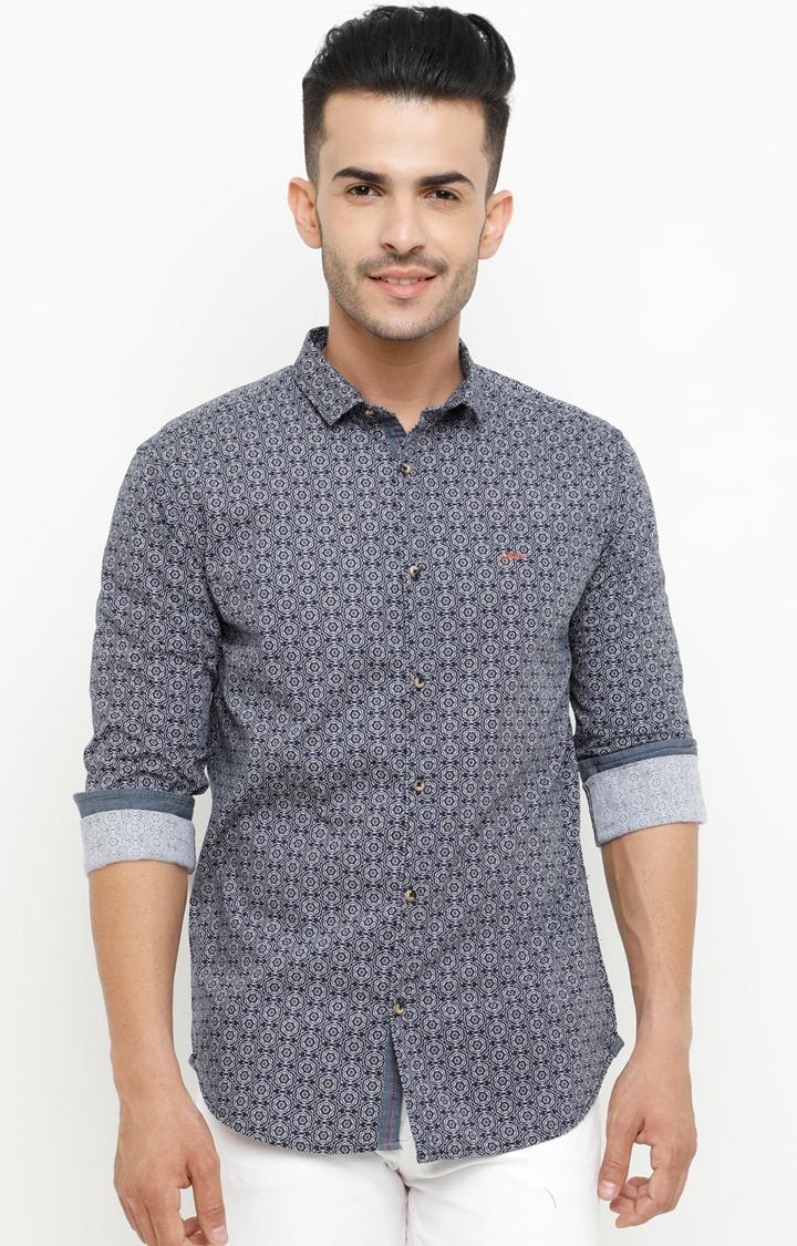 Showoff | Navy Printed Casual Shirt