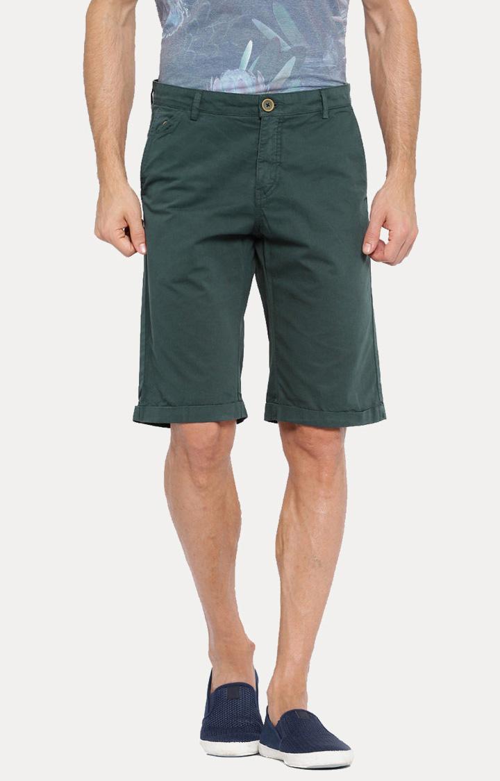 Showoff   Green Solid Shorts