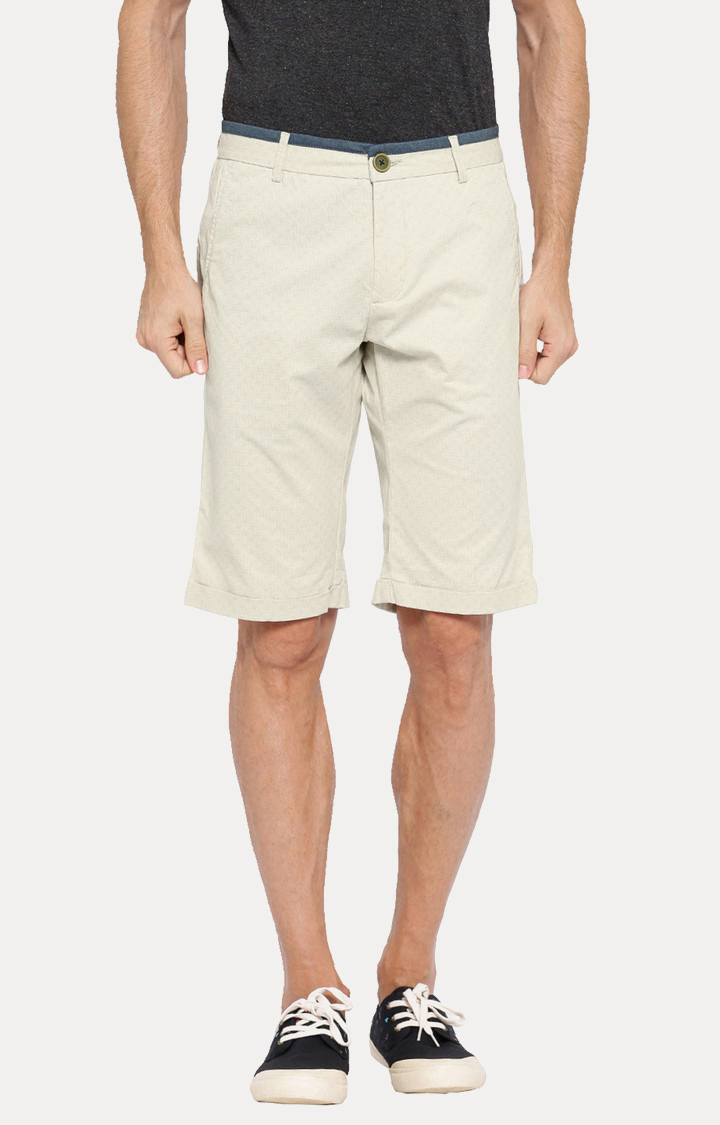 Showoff   White Solid Shorts