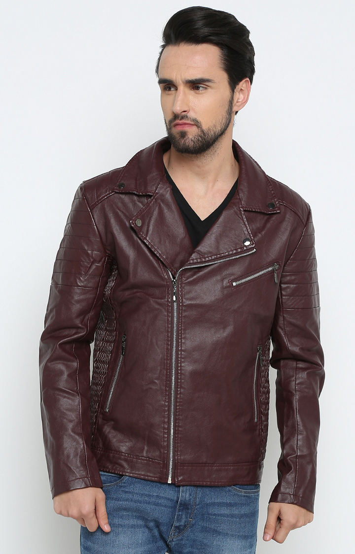 Showoff   Maroon Solid Leather Jacket