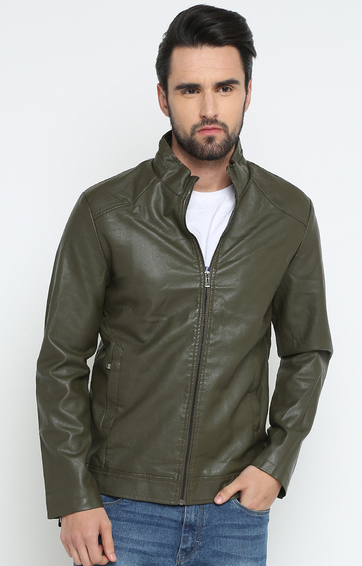 Green Solid Leather Jacket