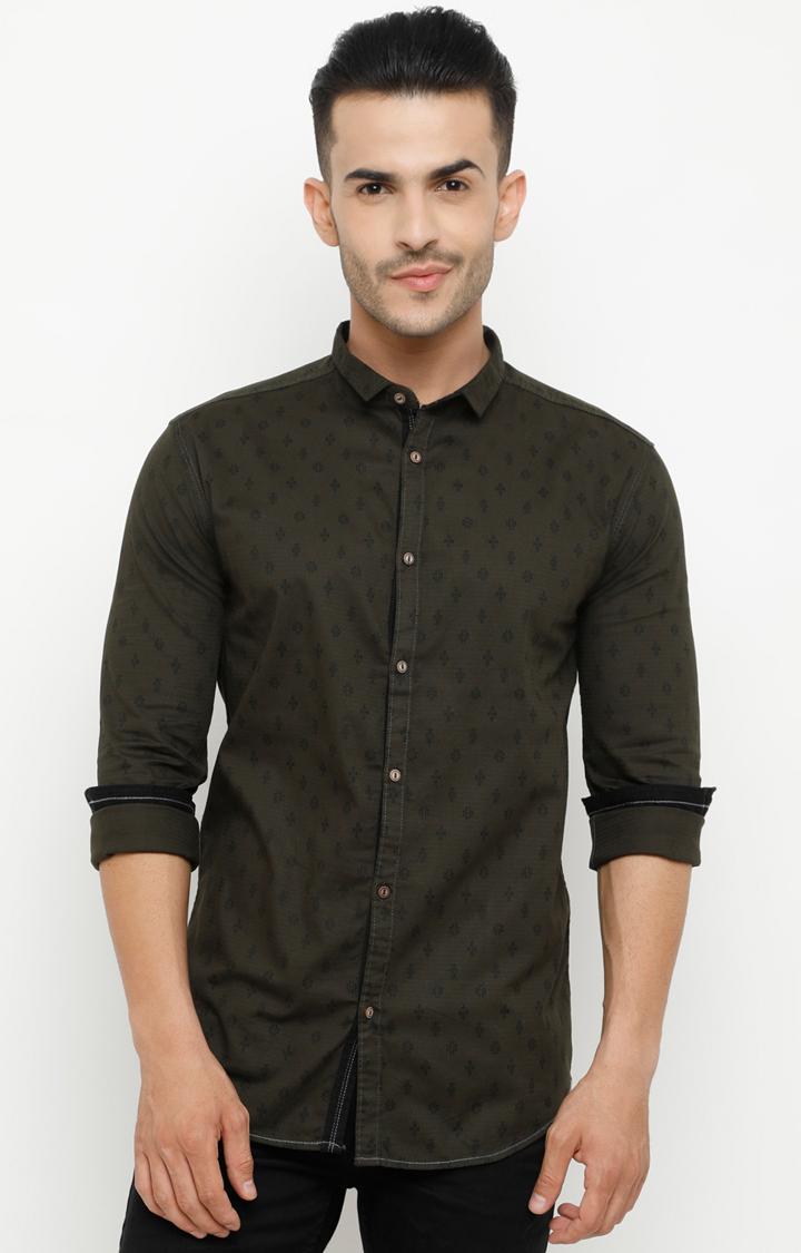 Showoff | Olive Printed Casual Shirt