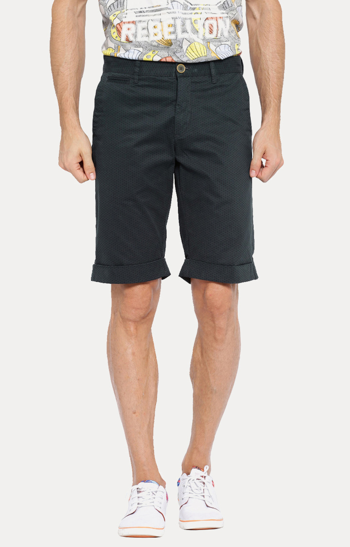 Showoff   Navy Blue Patterned Shorts