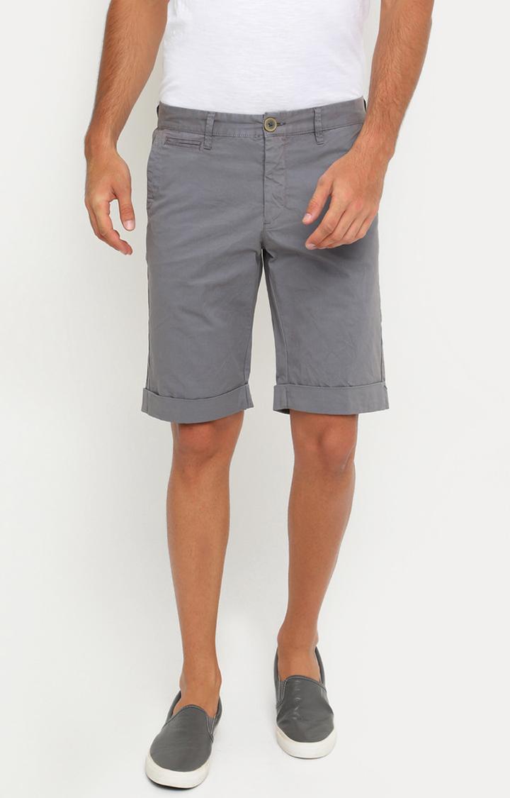 Showoff   Grey Solid Shorts