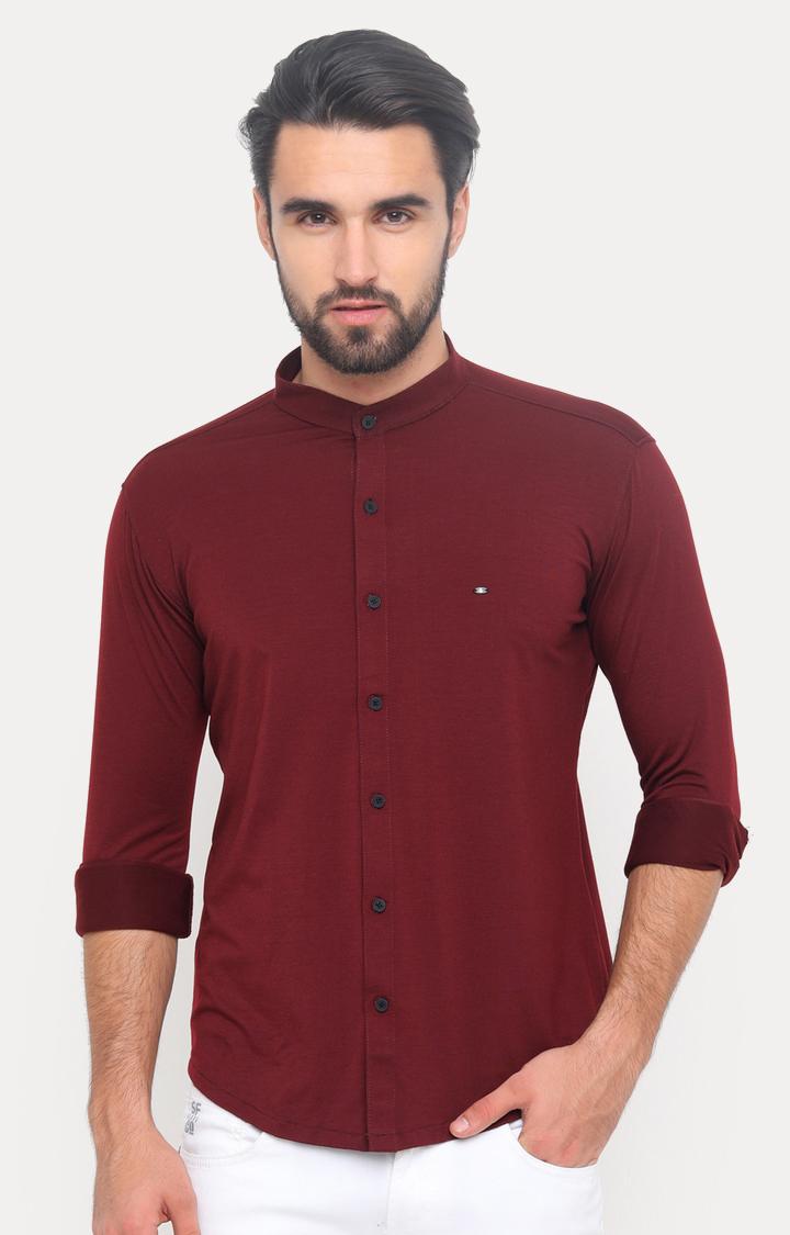 Showoff   Maroon Solid Casual Shirt