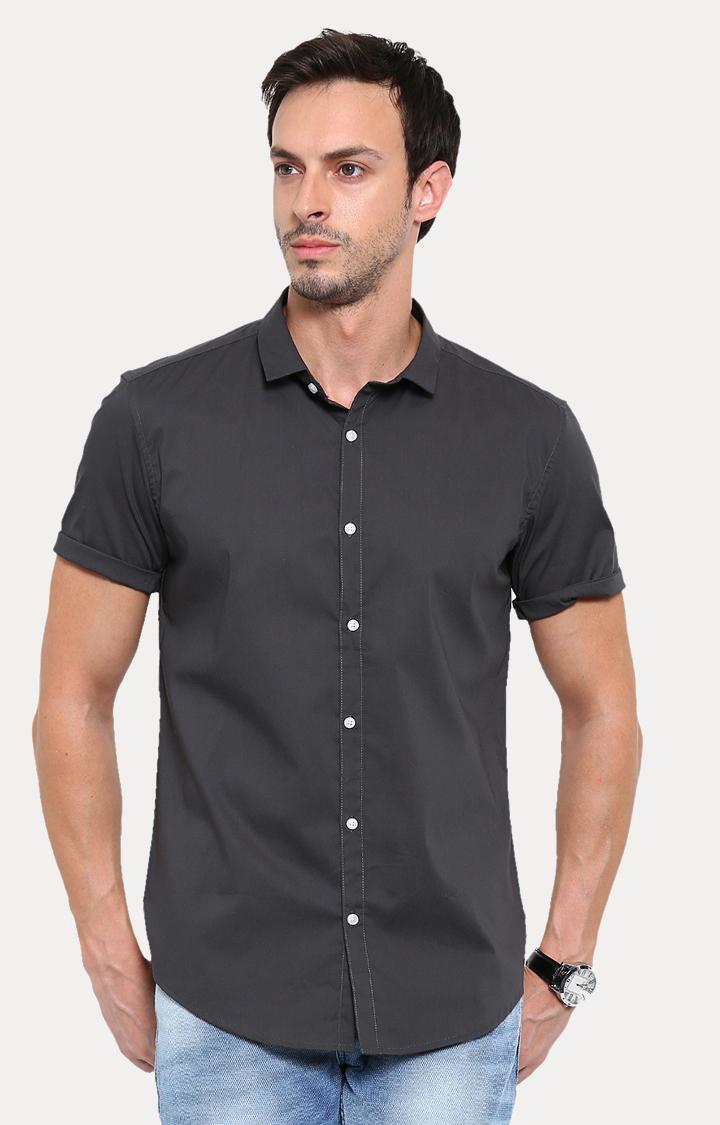 Showoff | Grey Solid Casual Shirt