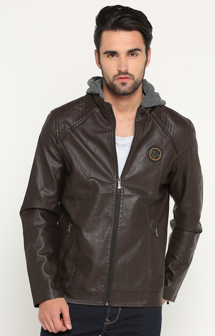 Dark Brown Solid Leather Jacket with Hood