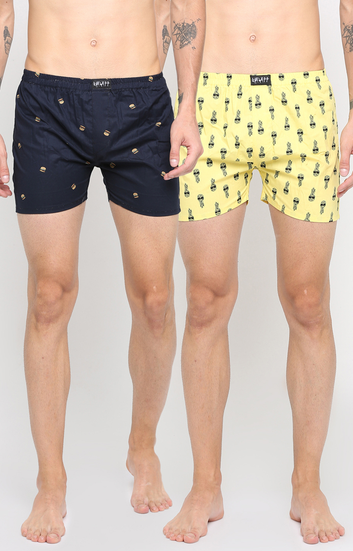 Showoff   Navy Blue and Yellow Printed Boxers - Pack of 2