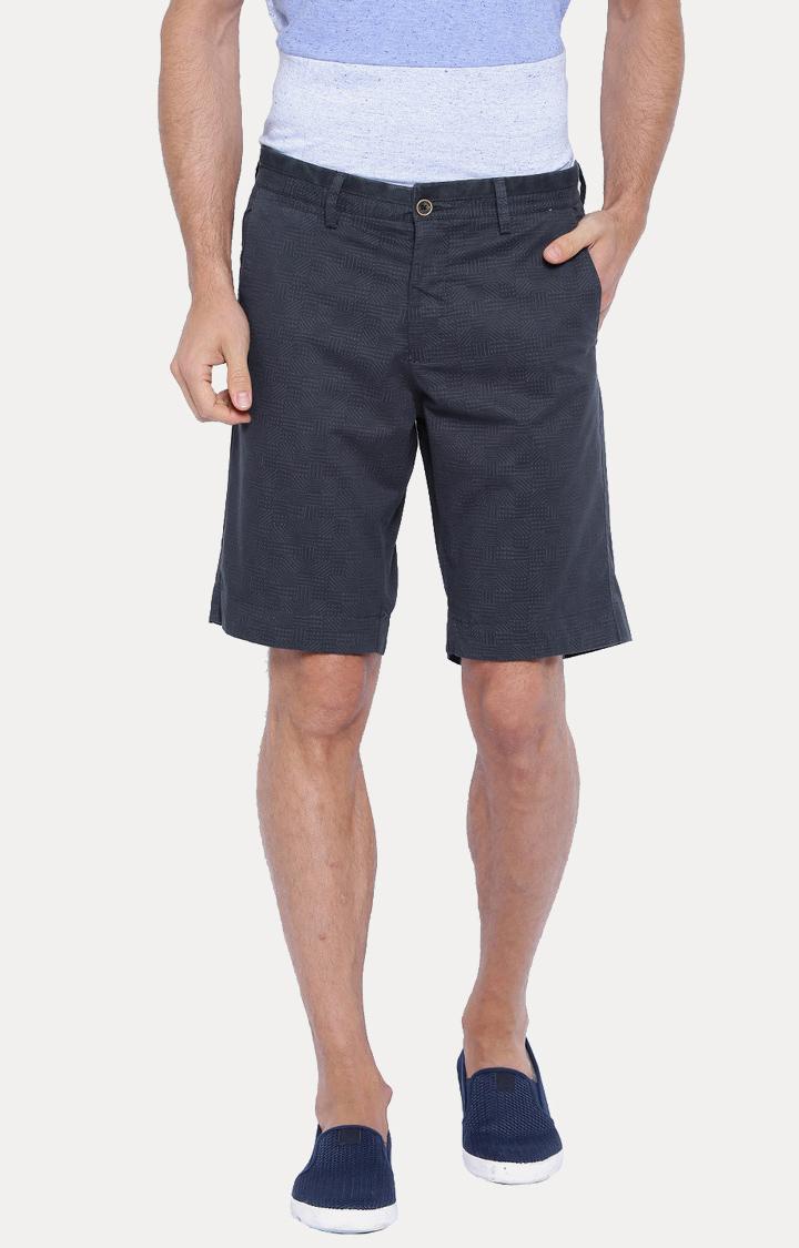 Showoff   Navy Blue Solid Shorts