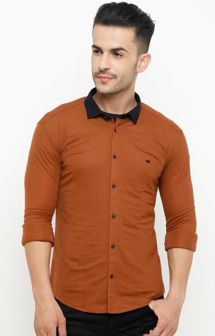 Showoff | Tan Solid Casual Shirt