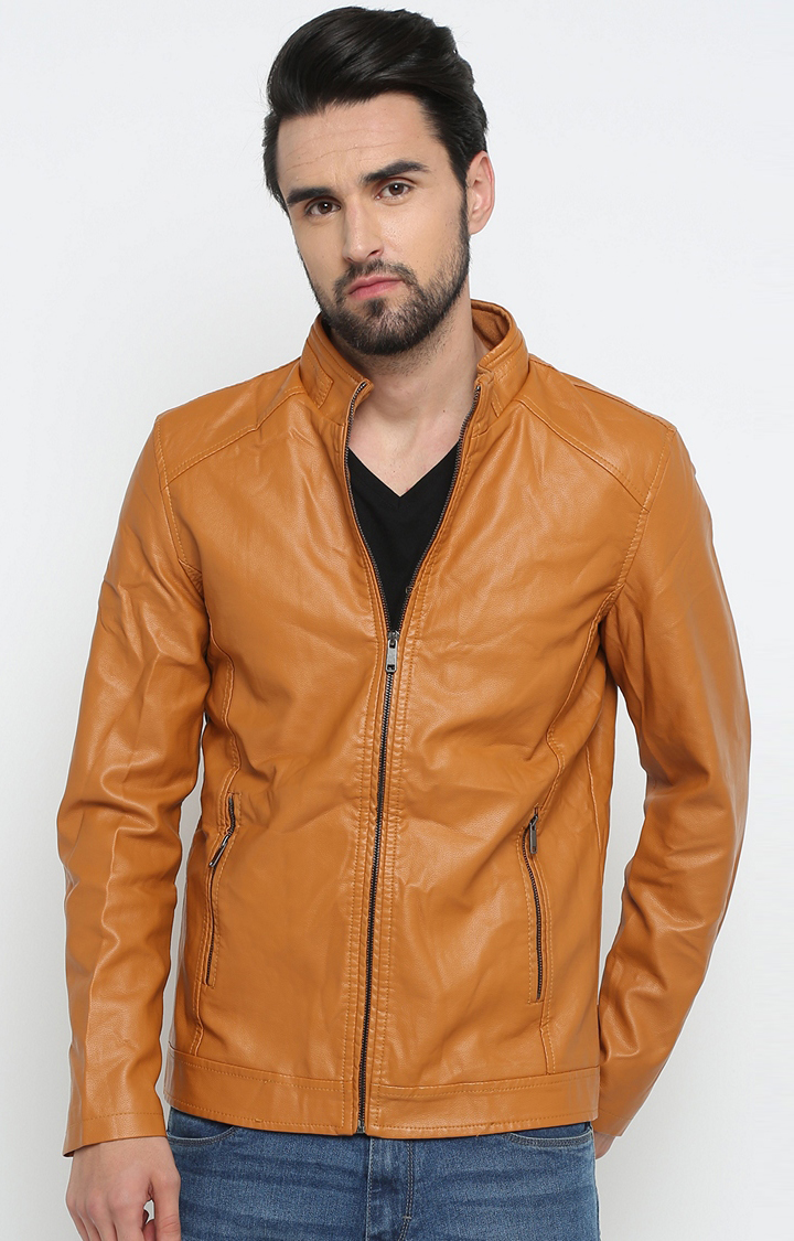Tan Solid Leather Jacket