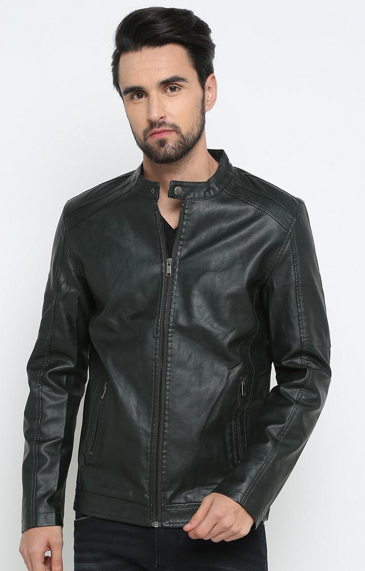 Showoff | Dark Green Solid Leather Jacket