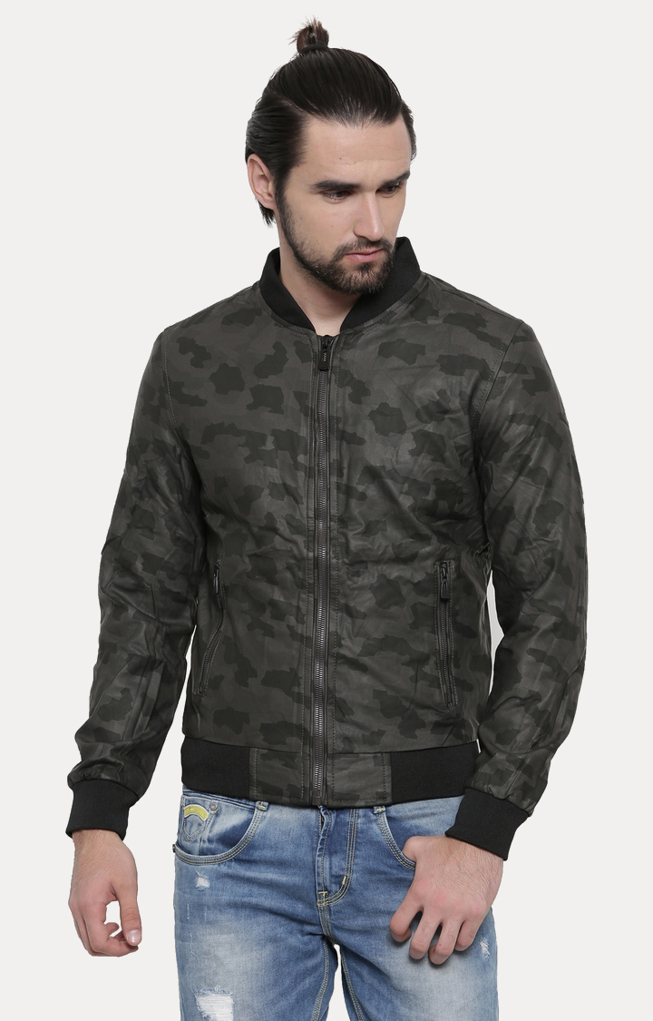 With | Olive Printed PU Leather Jacket