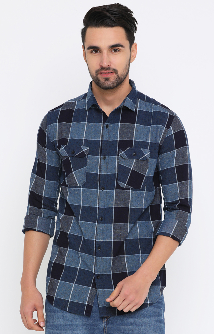 With   Navy Checked Casual Shirt