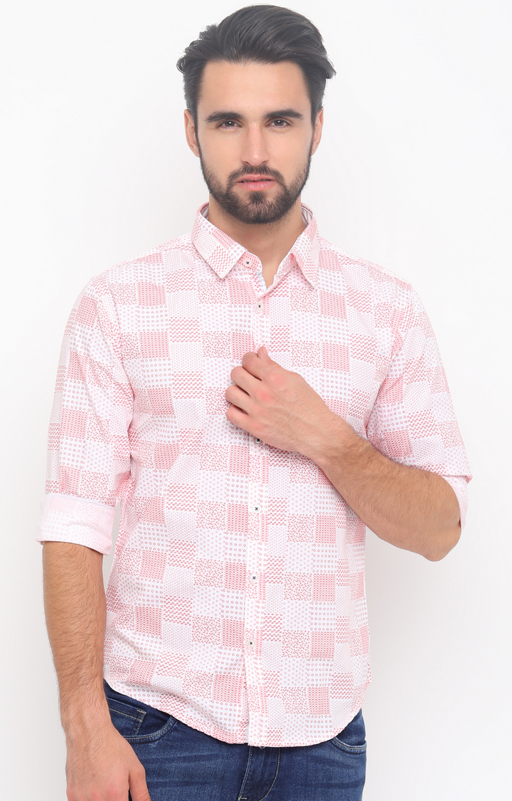 With   Red Printed Casual Shirt