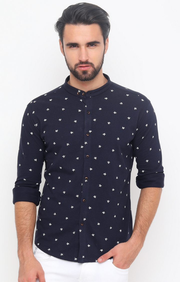 With   Navy Printed Casual Shirt