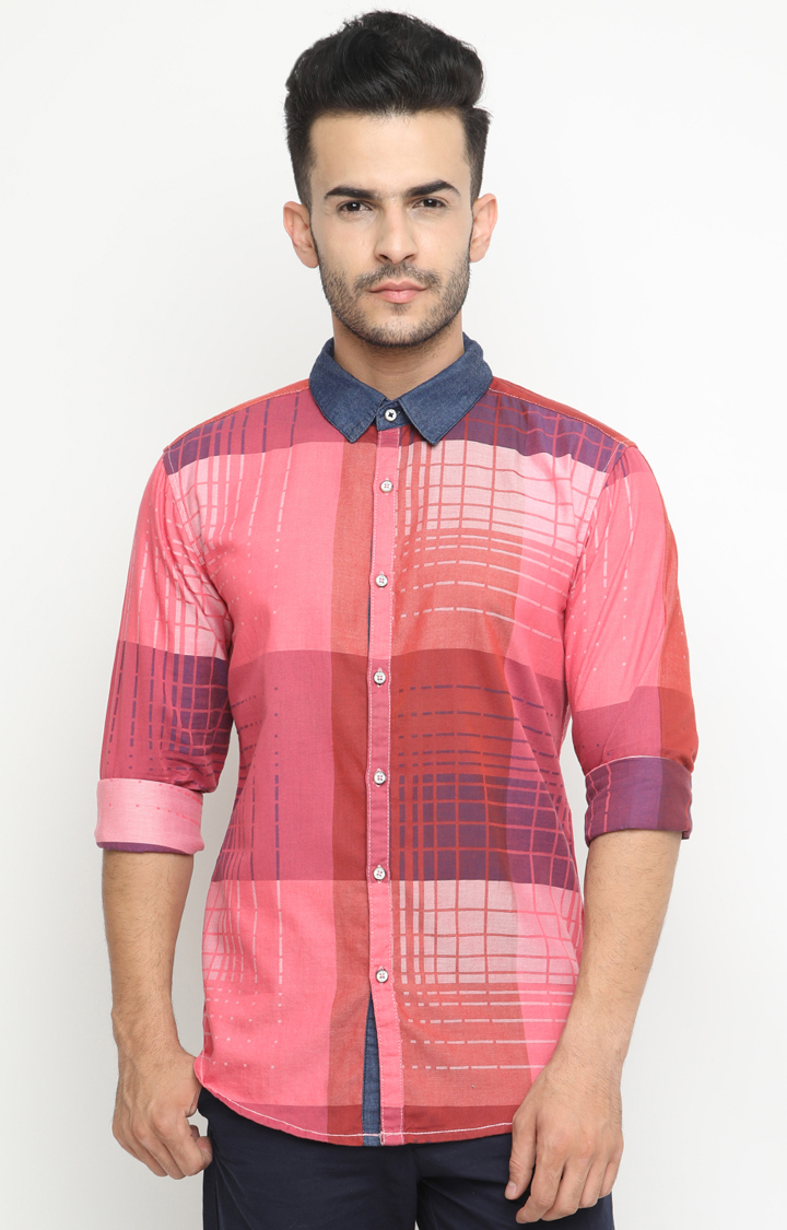With   Red and Pink Checked Casual Shirt