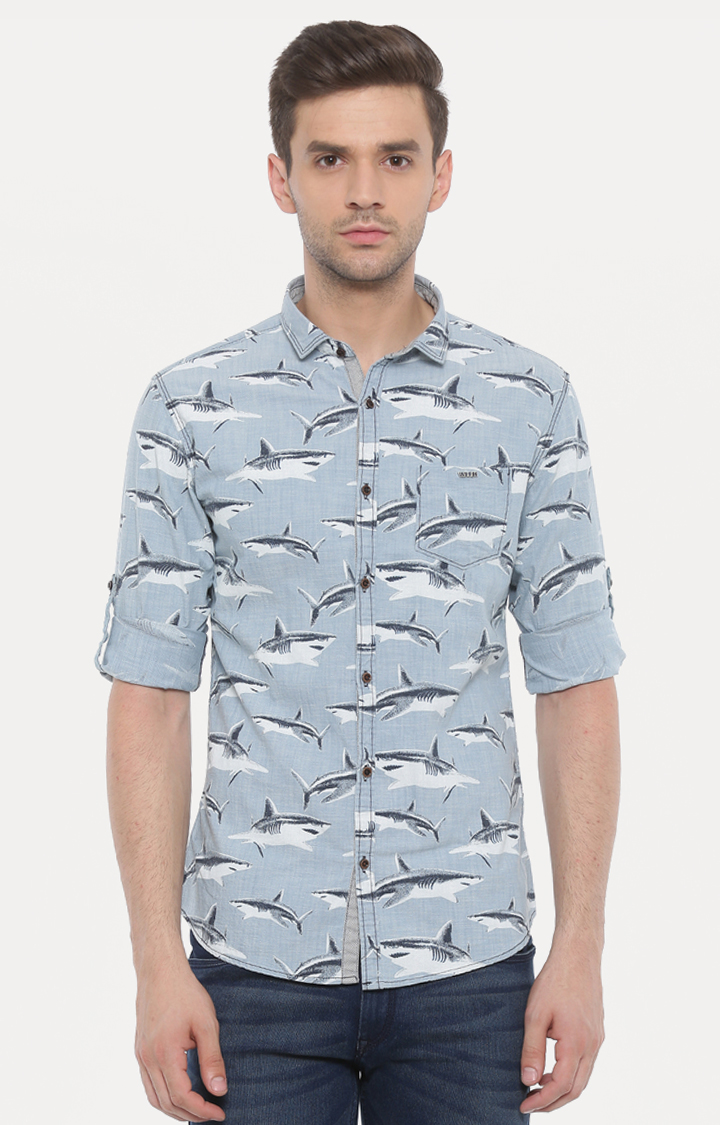 With | Light Blue Printed Casual Shirt