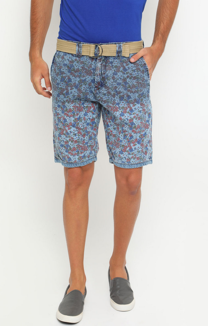 With   Blue Printed Shorts