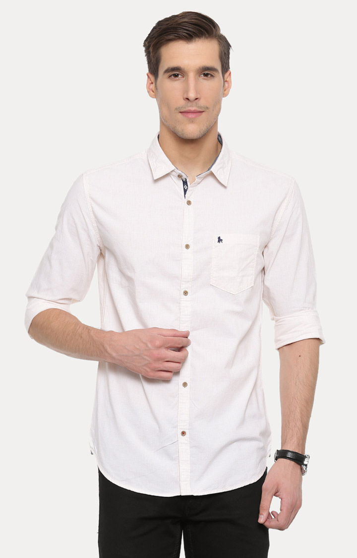 With | Cream Solid Casual Shirt