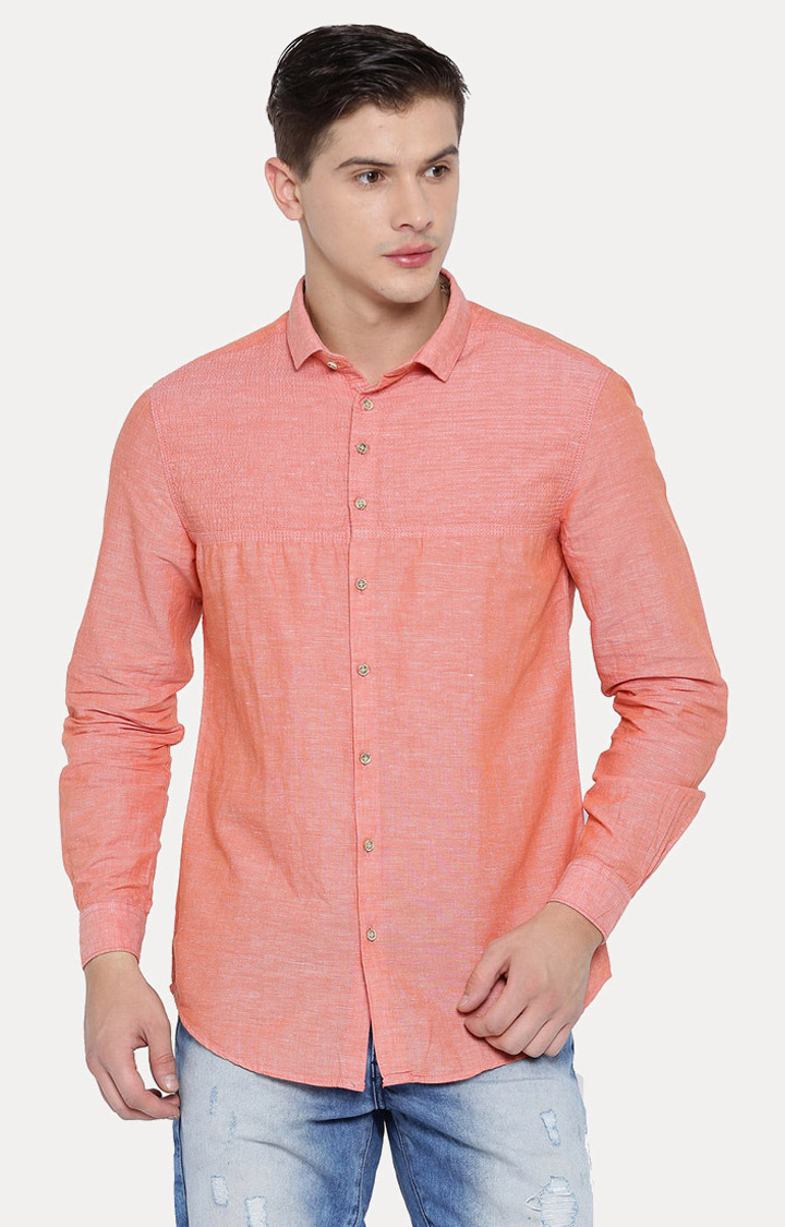 With | Peach Melange Casual Shirt
