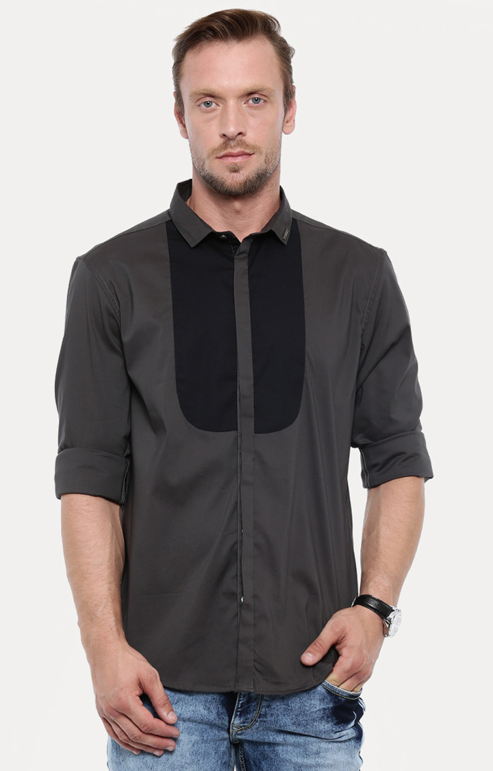 With | Dark Grey Solid Casual Shirt