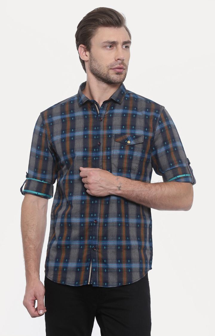 With   Green Checked Casual Shirt