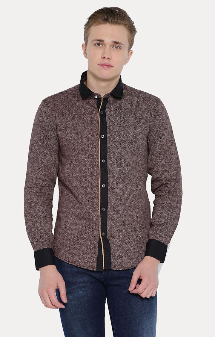 With | Brown Patterned Casual Shirt