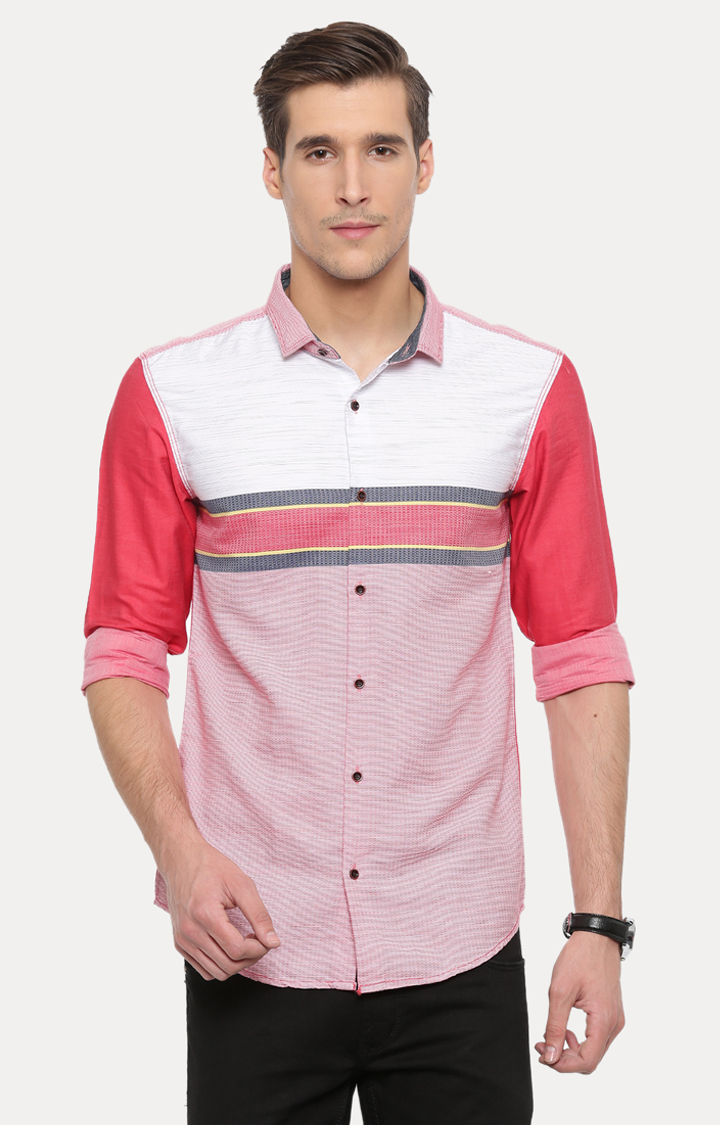 With   Red and White Colourblock Casual Shirt