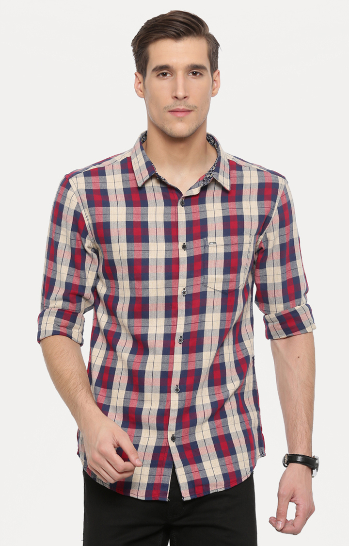 With   Red and Beige Checked Casual Shirt