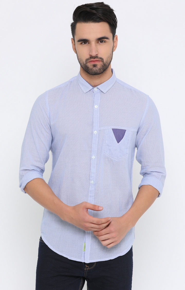 With   Blue Striped Casual Shirt