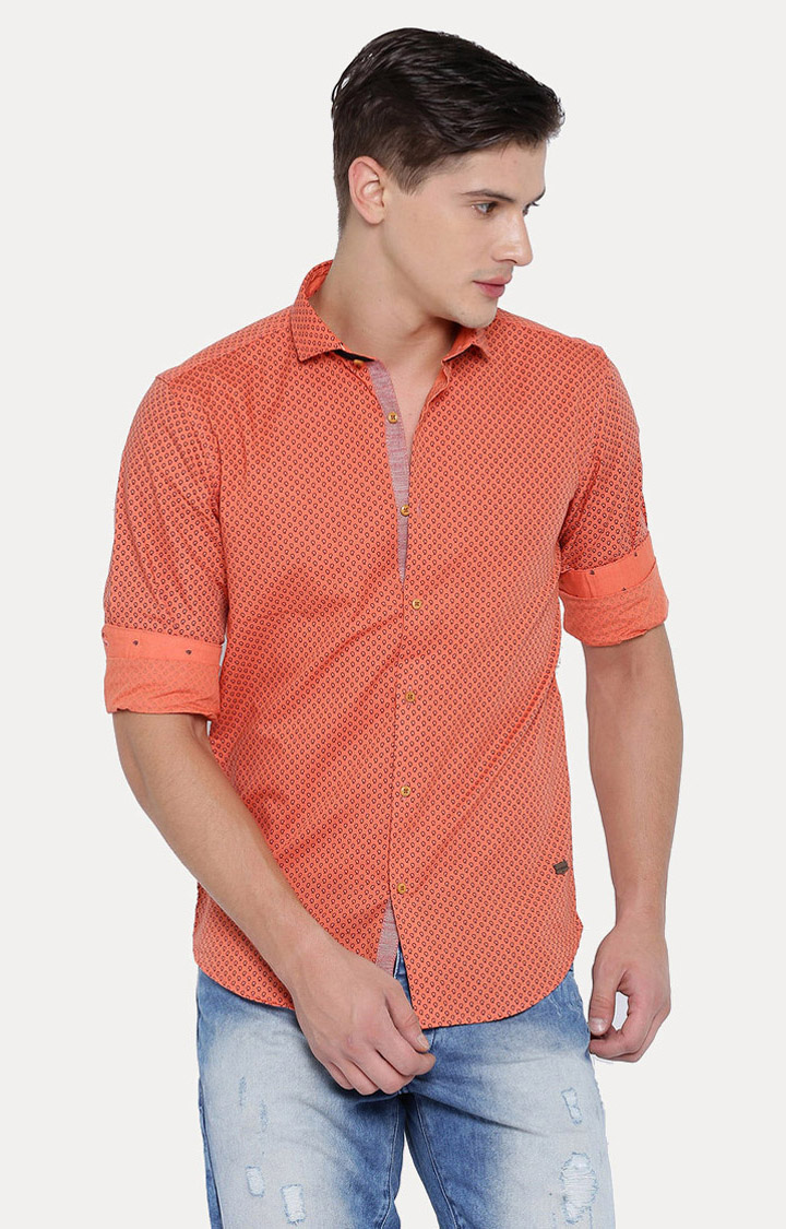 With | Orange Patterned Casual Shirt