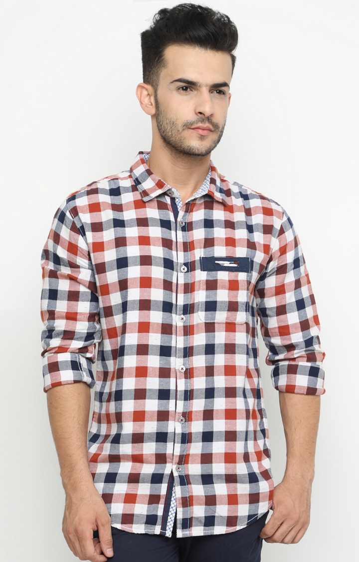 With | Brown and White Checked Casual Shirt