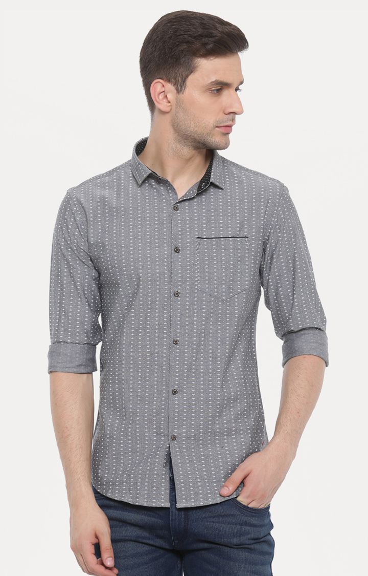 With   Grey Printed Casual Shirt