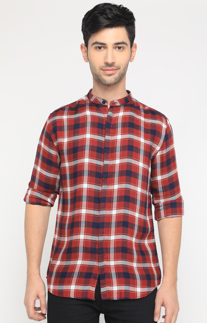 With   Red Checked Casual Shirt